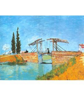 El puente de Langlois con dama con paraguas
