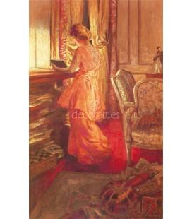Feme a la robe rose