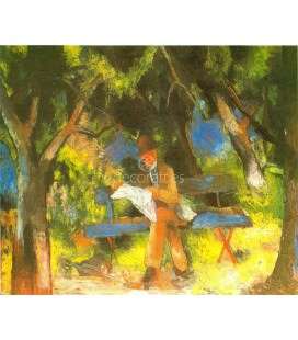 Hombre leyendo en el parque