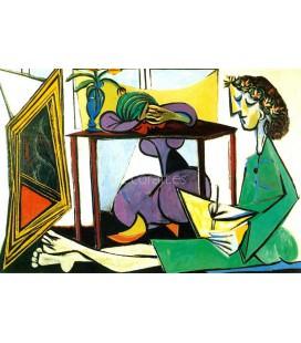 Interior con muchacha dibujando