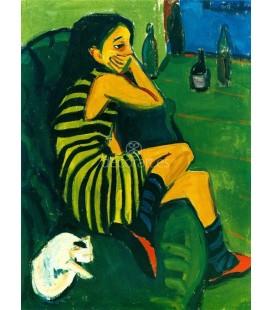 Muchacha en sofa verde con gato