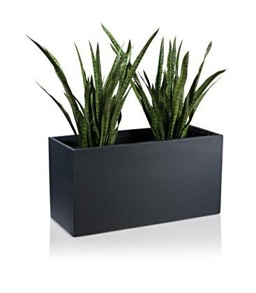 Macetero rectangular negro