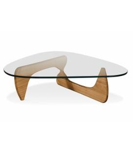 Mesa centro de cristal y madera