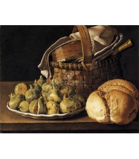A plate of figs, pomegranates, bottle and a glass of wine white and bread