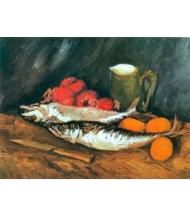 Bodegon con caballas, limones y tomates