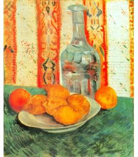 Bodegon con limones y botella