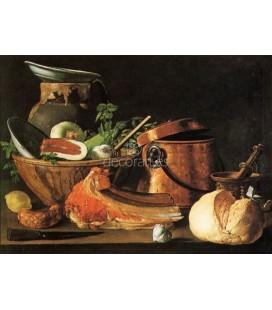Bodegón, carne, pan chorizos y utensilios de cocina