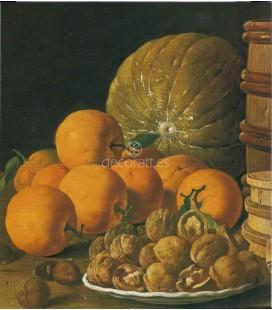 Bodegón, limas, naranjas, acerolas y sandía