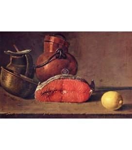 Bodegon, un trozo de salmón, un limón y tres vasijas