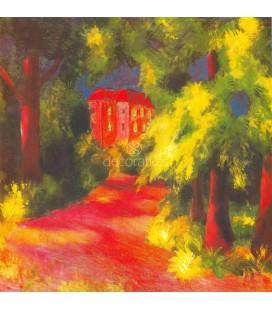 Casa roja en el parque